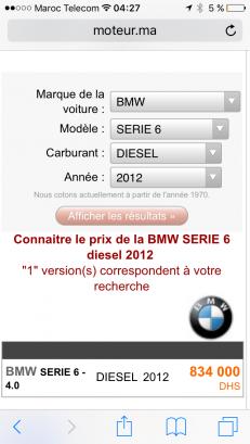 Voiture au Maroc BMW Serie 6 Gran coupé - 103803
